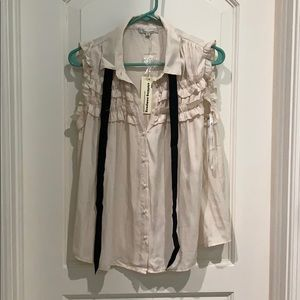 Beige and black blouse- Size small